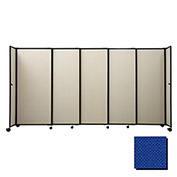"Portable Sliding Panel Room Divider, 6'x15'6"" Fabric, Royal Blue"