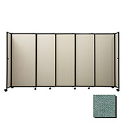 "Portable Sliding Panel Room Divider, 6'x15'6"" Fabric, Blush Green"