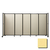"Portable Sliding Panel Room Divider, 7'6""x11'3"" Fabric, Yellow"
