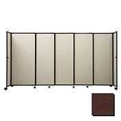 "Portable Sliding Panel Room Divider, 7'6""x15'6"" Fabric, Chocolate Brown"