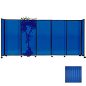 "Portable Sliding Panel Room Divider, 4'x7'2"" Polycarbonate, Blue"