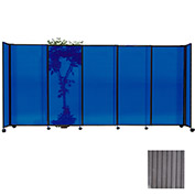 "Portable Sliding Panel Room Divider, 5'x11'3"" Polycarbonate, Gray"