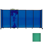 "Portable Sliding Panel Room Divider, 5'x11'3"" Polycarbonate, Green"