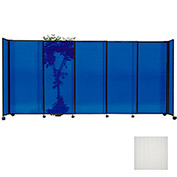 "Portable Sliding Panel Room Divider, 6'x7'2"" Polycarbonate, Opal"