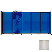 "Portable Sliding Panel Room Divider, 7'6""x15'6"" Polycarbonate, Clear"