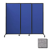 "Portable Acoustical Partition Panels, Sliding Panels, 70""x7' Fabric, Cloud Gray"