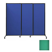 "Portable Acoustical Partition Panels, Sliding Panels, 70""x7' Green"