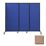 "Portable Acoustical Partition Panels, Sliding Panels, 80""x7' Fabric, Beige"