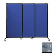 "Portable Acoustical Partition Panels, Sliding Panels, 80""x7' Fabric, Powder Blue"