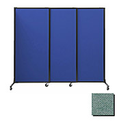 "Portable Acoustical Partition Panels, Sliding Panels, 80""x7' Fabric, Blush Green"
