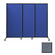 "Portable Acoustical Partition Panels, Sliding Panels, 80""x7' Fabric, Ocean"