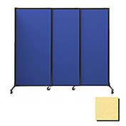 "Portable Acoustical Partition Panels, Sliding Panels, 80""x7' Fabric, Yellow"