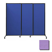 "Portable Acoustical Partition Panels, Sliding Panels, 80""x7' Fabric, Purple"