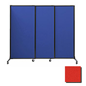 "Portable Acoustical Partition Panels, Sliding Panels, 80""x7' Fabric, Red"