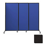 "Portable Acoustical Partition Panels, Sliding Panels, 88""x7' Fabric, Black"