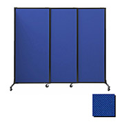 "Portable Acoustical Partition Panels, Sliding Panels, 88""x7' Fabric, Royal Blue"