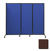 "Portable Acoustical Partition Panels, Sliding Panels, 88""x7' Fabric, Chocolate Brown"