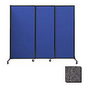 "Portable Acoustical Partition Panels, Sliding Panels, 88""x7' Fabric, Charcoal Gray"