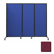 "Portable Acoustical Partition Panels, Sliding Panels, 88""x7' Fabric, Cranberry"