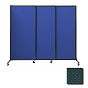 "Portable Acoustical Partition Panels, Sliding Panels, 88""x7' Fabric, Forest Green"