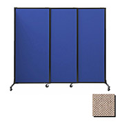 "Portable Acoustical Partition Panels, Sliding Panels, 88""x7' Fabric, Rye"
