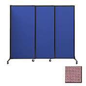 "Portable Acoustical Partition Panels, Sliding Panels, 88""x7' Fabric, Wine"