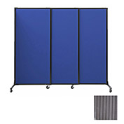 "Portable Acoustical Partition Panels, Sliding Panels, 88""x7' Gray"