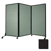 "Portable Acoustical Partition Panel, AWRD  70""x8'4"" Fabric, Black"