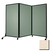 "Portable Acoustical Partition Panel, AWRD  70""x8'4"" Fabric, Sand"