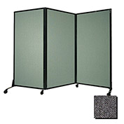 """Portable Acoustical Partition Panel, AWRD  80""""x8'4"""" Fabric, Charcoal Gray"""