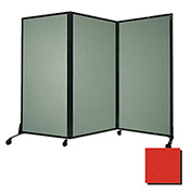 """Portable Acoustical Partition Panel, AWRD  80""""x8'4"""" Fabric, Red"""