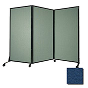 "Portable Acoustical Partition Panel, AWRD  88""x8'4"" Fabric, Navy Blue"