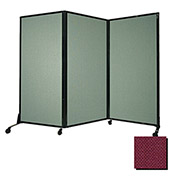 "Portable Acoustical Partition Panel, AWRD  88""x8'4"" Fabric, Cranberry"