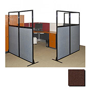"Partition Panels with Windows - No Assembly, 70"", 2 Partition Panel, Chocolate Brown"