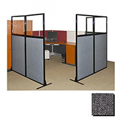 "Partition Panels with Windows - No Assembly, 70"", 3 Partition Panel, Charcoal Gray"