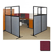 "Partition Panels with Windows - No Assembly, 70"", 3 Partition Panel, Cranberry"