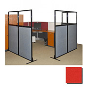 "Partition Panels with Windows - No Assembly, 70"", 3 Partition Panel, Red"