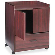 Mobile Deluxe Coffee Bar with 2-Door Cabinet & Drawer, Mahogany
