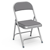 Steel Folding Chair, Gray Frame With Gray Vinyl Upholstery - Pkg Qty 4