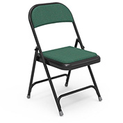 Virco® 188 Steel Folding Chair, Black Frame With Green Fabric Upholstery - Pkg Qty 4