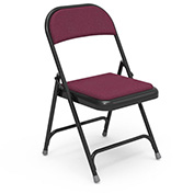 Virco® 188 Steel Folding Chair, Black Frame With Red Fabric Upholstery - Pkg Qty 4