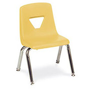 Virco® 2014 Medium Plastic Classroom Chair, Yellow With Chrome Frame - Pkg Qty 4
