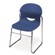 Sled-Base I.Q. Series Chair, Blue With Chrome Frame - Pkg Qty 4