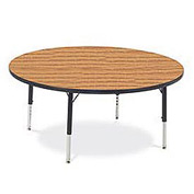 "Virco® 4848RLO Activity Table w/ Short Adj. Legs, 48"" Round, Black Frame/Oak Top"