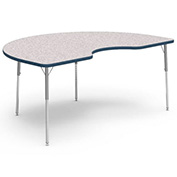 "Virco® 48KID72LO Activity Table w/ Short Adj. Legs, 48"" x 72"" Kidney, Gray Frame/Top"