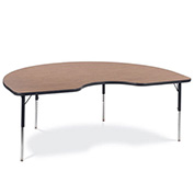 "Virco® 48KID72 Activity Table w/ Standard Adj. Legs, 48"" x 72"" Kidney, Black Frame/Oak Top"
