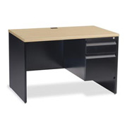 "Virco® Teacher's Desk Single Right Pedestal 30""x48"", Black Frame, Fusion Maple Top"
