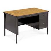 "Virco® Teacher's Desk - Single Right Pedestal - 30""x48"" - Oak"