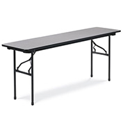 "Virco® Laminate Folding Table - 18""x72"" - Black with Gray Top"