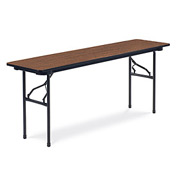 "Virco® Laminate Folding Table - 18""x72"" - Black with Walnut Top"